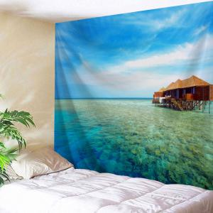 Ocean Pavilion Print Tapestry Wall Hanging Art Decoration - Ice Blue - W59 Inch * L79 Inch