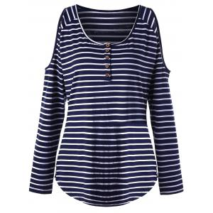Open Shoulder Plus Size Striped Top