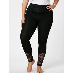 Plus Size Lace Insert Fitted Pants - Black - 5xl