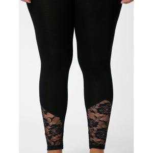 Plus Size Lace Insert Fitted Pants - BLACK 5XL