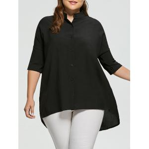 High Low Button Up Plus Size Boyfriend Shirt