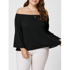 Plus Size Pleated Off The Shoulder Chiffon Blouse