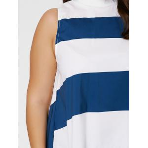 Stripe Mock Neck Plus Size High Low Maxi Top - Bleu et Blanc XL