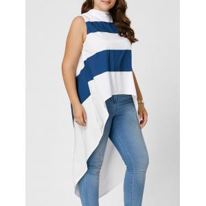 Stripe Mock Neck Plus Size High Low Maxi Top