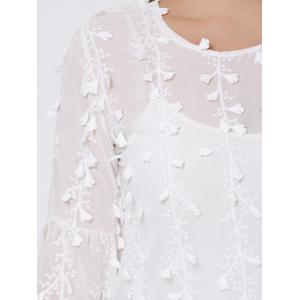 Top Embellished Long Flared Sleeve Top - Blanc 3XL