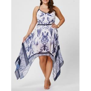 Plus Size Beach Ombre Asymmetric Spaghetti Strap Dress - White - 5xl