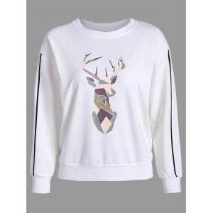 Printed Long Sleeves Sweatshirt - White - Xl
