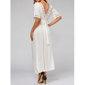 Lace Trim Bowknot Tail Maxi Flare Dress