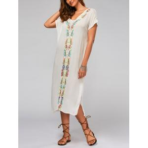 Leaf Embroidery Batwing Sleeve Split Straight Dress - White - S