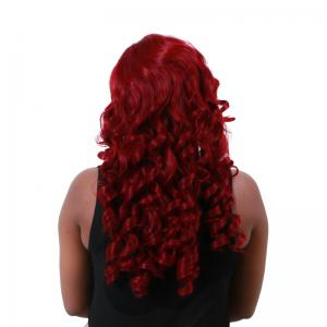 Long Shaggy Side Part Big Wave Synthetic Wig - WINE RED