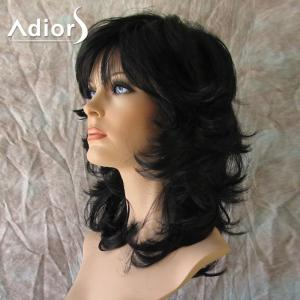 Adiors Medium Side Bang Fluffy Anti-Alice Straight Synthetic Wig - BLACK