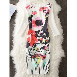 Flower Printed Knee Length Sheath Dress