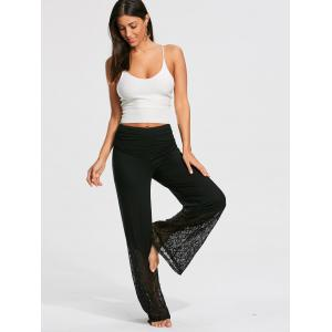 Lace and Flounce Insert Palazzo Pants - BLACK S