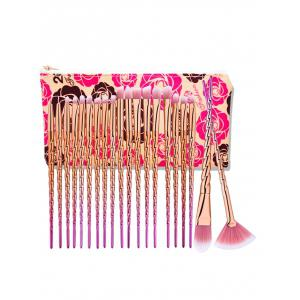 20Pcs Unicorn Ombre Eye Makeup Brushes Set With Rose Bag - Rose Gold