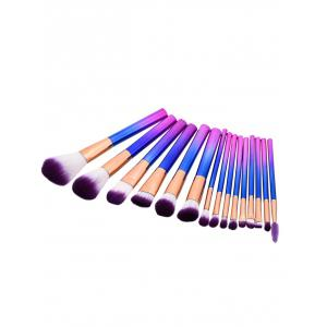 15Pcs Glitter Handle Makeup Brushes Set - Purple
