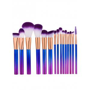 Ensemble de brosse à maquillage à poils brillants 15Pcs - Pourpre