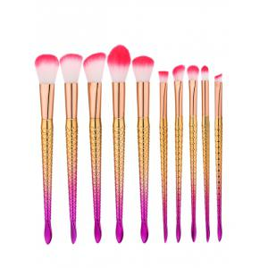 10Pcs Ombre Glitter Handle Mermaid Makeup Brushes Set - Pink + Yellow