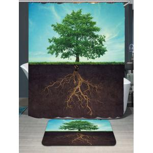 Waterproof Life Tree Shower Curtain and Rug - Colormix - W79 Inch * L71 Inch