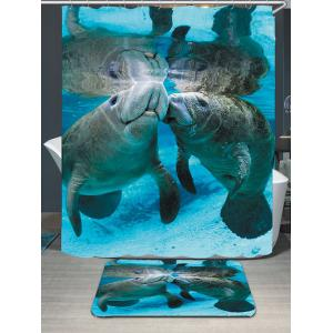 Waterproof Ocean Manatee Printed Shower Curtain and Rug - Blue - W79 Inch * L71 Inch