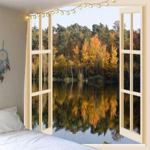 Faux Window Lake Printed Waterproof Wall Hanging Tapestry - Colorful - W79 Inch * L79 Inch