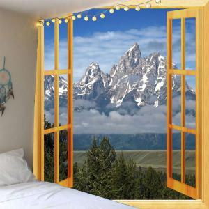 3D Faux Window Mountain Printed Waterproof Wall Hanging Tapestry