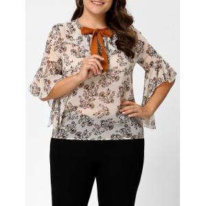 Plus Size Floral Ruffle Pussy Bow Chiffon Top - Off-white - 3xl