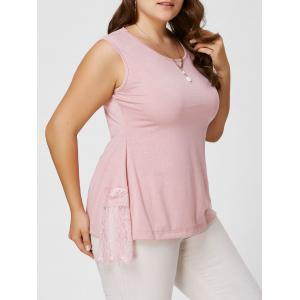 Plus Size  Lace Panel Asymmetric Tank Top