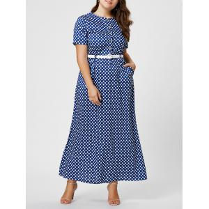Button Polka Dot Plus Size Maxi Dress with Blet - Blue - 2xl