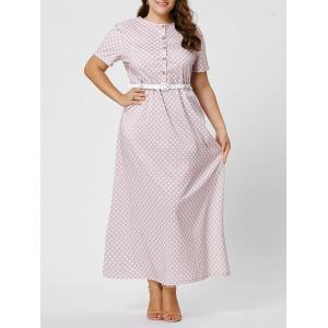Button Polka Dot Plus Size Maxi Dress with Blet - Pink - 6xl