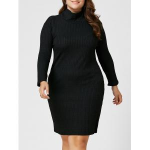 Plus Size Sheath Turtleneck Ribbed Sweater Dress - Black - 4xl