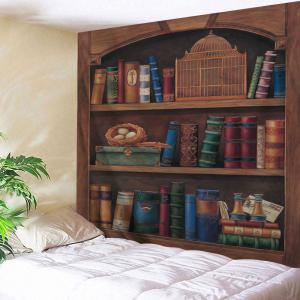 Vintage Wood Bookshelf Wall Hanging Tapestry