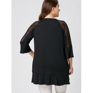 Plus Size Lace Trim Tunic Tee - BLACK XL