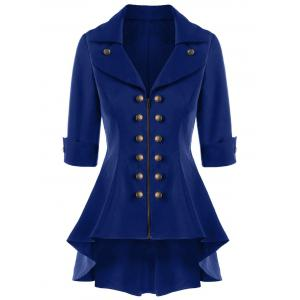 Double Breasted High Low Flare Trench Coat - Navy Blue - 2xl