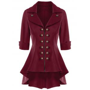 Double Breasted High Low Flare Trench Coat - Wine Red - M