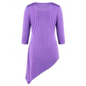 Asymmetric Ruched Tunic Top - PURPLE M