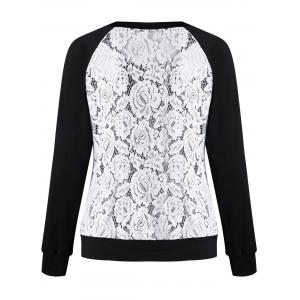 Raglan Sleeve Lace Trim Floral Sweatshirt - BLACK + WHITE M