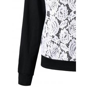 Raglan Sleeve Lace Trim Floral Sweatshirt - BLACK + WHITE 2XL
