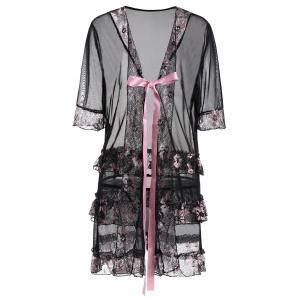 Plus Size Floral Bowknot Sheer Babydoll - Black - 4xl