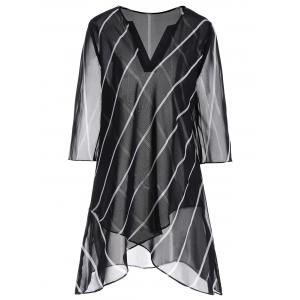 Striped Overlap Plus Size Top - Black - 5xl