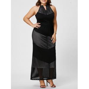 Plus Size Keyhole Maxi Evening  Chain Neck Dress