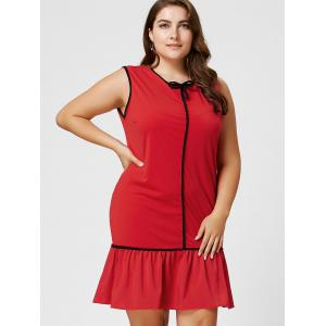 Robe taille taille Ruffled taille grande taille Bowknot - Rouge 2XL