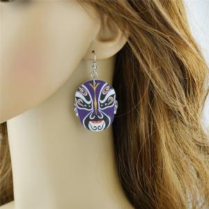 Chinese Peking Opera Oval Mask Earrings -