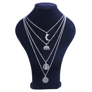 Gypsy Alloy Layered Elephant Moon Necklace - Silver