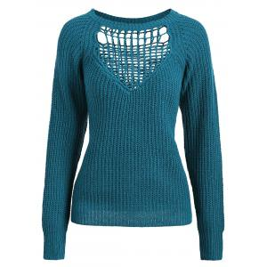 Openwork Long Sleeves Textured Sweater - Blue Green - One Size