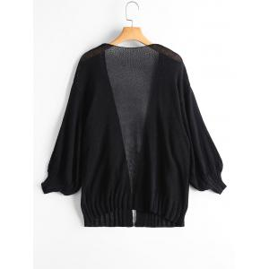 Drop Shoulder Collarless Sheer Cardigan -