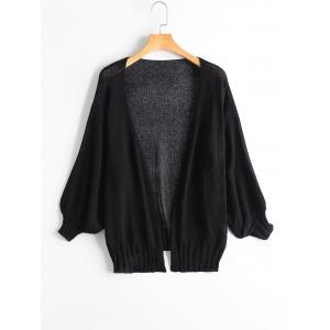 Drop Shoulder Collarless Sheer Cardigan