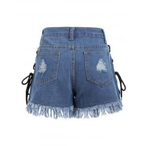 Lace Up Frayed Hem Ripped Denim Shorts - DENIM BLUE L