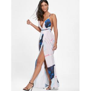 Backless High Slit Print Maxi Plunge Dress - Multicolore XL