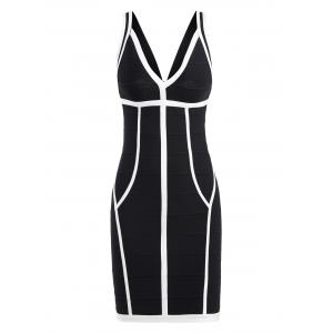 Bodycon Two Tone V Neck Bandage Dress