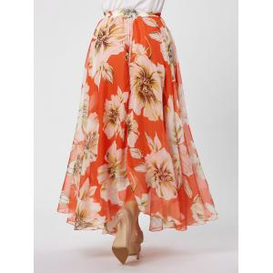 Elastic Waist Plus Size Floral Maxi Skirt - BURNT ORANGE XL